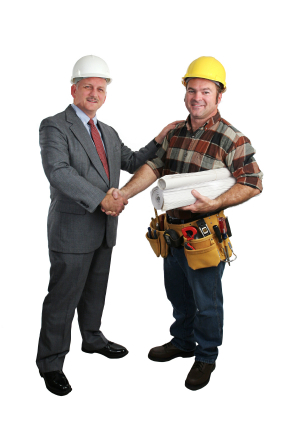 a business person and contractor shaking hands